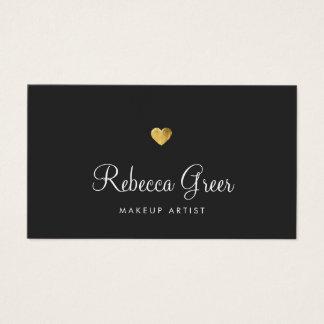 かわいい金ゴールドのハートの黒の美しいコンサルタント 名刺