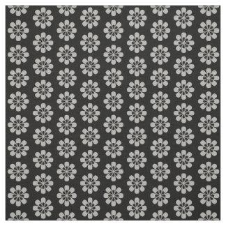 かわいい銀製灰色の花花パターン黒 ファブリック