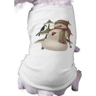 かわいい雪だるまおよびカラスのクリスマス犬のワイシャツ ペット服