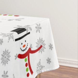 かわいい雪だるまおよび雪片の休日のテーブルクロス テーブルクロス