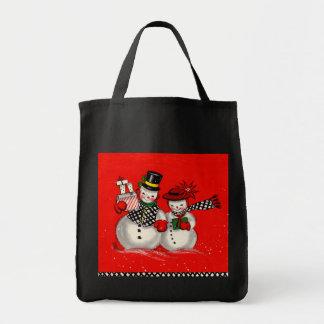 かわいい雪だるまのカップル トートバッグ