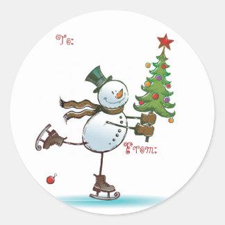 かわいい雪だるまのクリスマスのギフトのラベル ラウンドシール