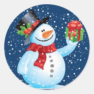 かわいい雪だるまのクリスマスのステッカー ラウンドシール