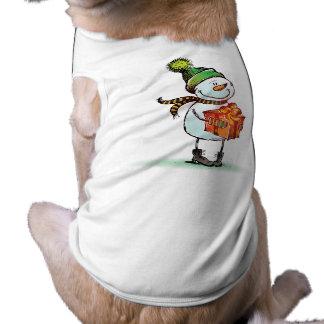 かわいい雪だるまのクリスマス犬のTシャツ ペット服