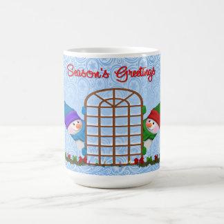 かわいい雪だるまの季節の挨拶 コーヒーマグカップ