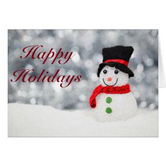 かわいい雪だるまの幸せな休日カード カード