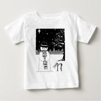 かわいい雪だるまの白黒のクリスマスのイラストレーション ベビーTシャツ