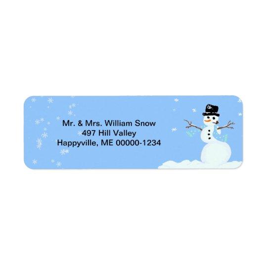 かわいい雪だるまの青い休日の宛名ラベル ラベル
