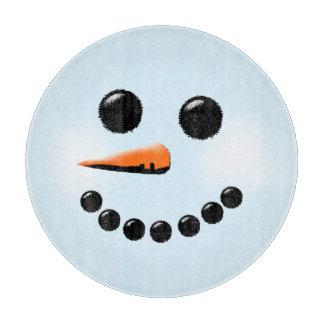 かわいい雪だるまの顔の冬休みの雪だるま カッティングボード