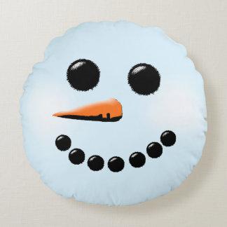 かわいい雪だるまの顔の冬休みの雪だるま ラウンドクッション