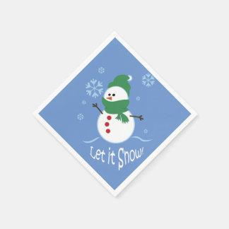 かわいい雪だるまはそれが雪が降るようにしました スタンダードカクテルナプキン