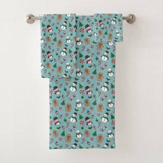 かわいい雪の友達の浴室タオルセット バスタオルセット