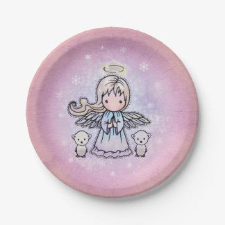 かわいい雪の天使および小さい白くまの絵 ペーパープレート