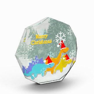かわいい雪の恐竜のメリークリスマスの装飾 表彰盾