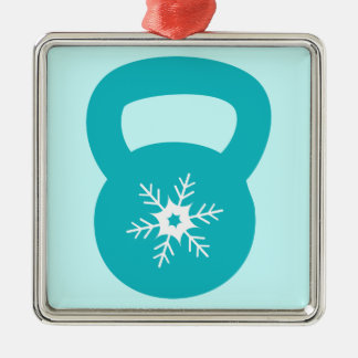 かわいい雪片とのKettlebell シルバーカラー正方形オーナメント