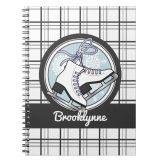 かわいい雪片のタータンチェックパターンはアイススケートし、 ノートブック