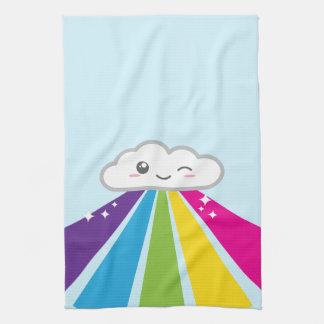 かわいい雲および虹の台所タオル キッチンタオル