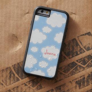 かわいい雲パターン青いピンクの名前入りな名前 iPhone 6 タフ・エクストリームケース