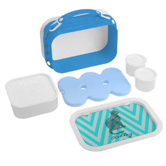 かわいい青猫のシェブロンのジグザグ形のモノグラムのお弁当箱 ランチボックス