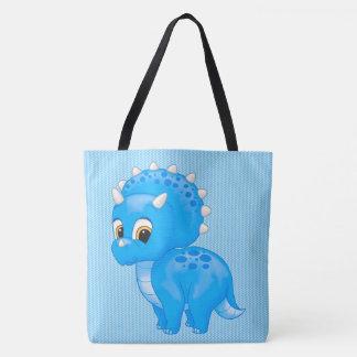 かわいい青色児のトリケラトプスの恐竜 トートバッグ
