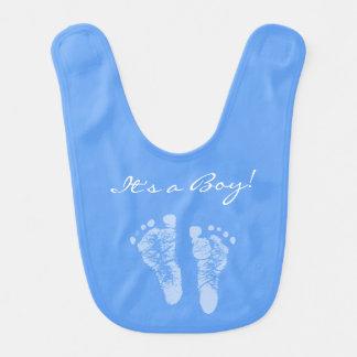 かわいい青色児の足跡男の子のベビーシャワー ベビービブ