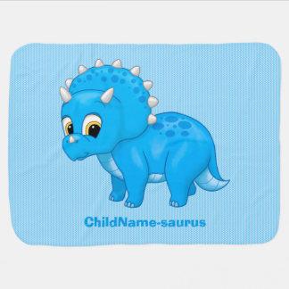 かわいい青色児のBrontosaurusの恐竜 ベビー ブランケット