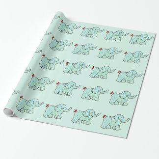 かわいい青色児象の誕生日の包装紙 ラッピングペーパー