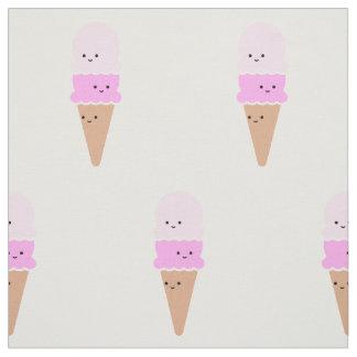 かわいい顔を搭載するアイスクリームコーン-かわいいのピンク ファブリック