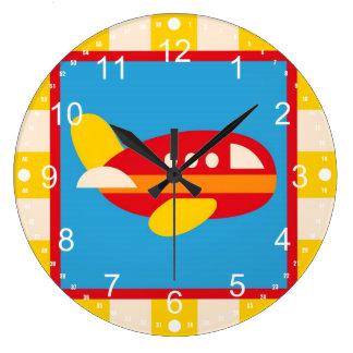 かわいい飛行機の交通機関のテーマはギフトをからかいます ラージ壁時計