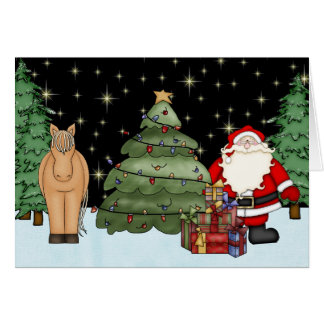かわいい馬およびサンタのメリークリスマスの休日 カード