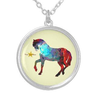 かわいい馬の写真のネックレス シルバープレートネックレス