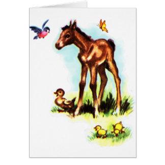 かわいい馬の子馬のベビーの子馬 カード