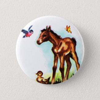 かわいい馬の子馬のベビーの子馬 5.7CM 丸型バッジ