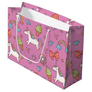 かわいい魔法のユニコーン ラージペーパーバッグ