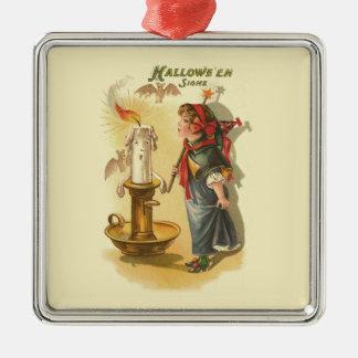 かわいい魔法使いの細い棒の蝋燭のこうもり メタルオーナメント