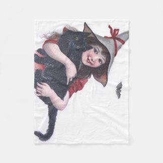かわいい魔法使いの黒猫のこうもり フリースブランケット
