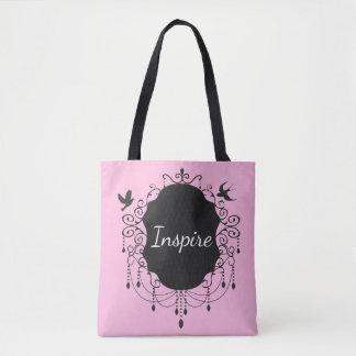 かわいい鳥のゴシック様式トートバックのピンクをインスパイア トートバッグ