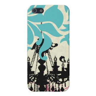 かわいい鳥の黒いシャンデリアのタンのダマスク織のiPhone iPhone 5 ケース