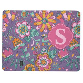 かわいい鳥及び花の紫色パターンジャーナルモノグラム ポケットジャーナル