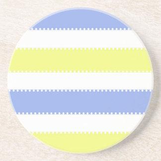 かわいい黄色および紫色の点およびストライプ コースター