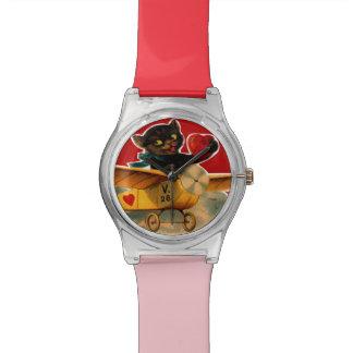 かわいい黒猫のハートの飛行機のヴィンテージのバレンタイン 腕時計