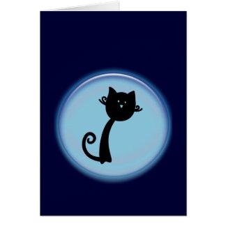かわいい黒猫の漫画の挨拶状 カード