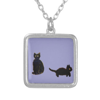 かわいい黒猫の芸術 シルバープレートネックレス