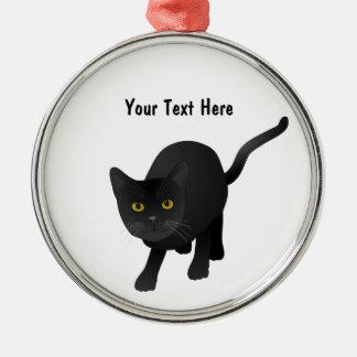 かわいい黒猫を個人化して下さい メタルオーナメント