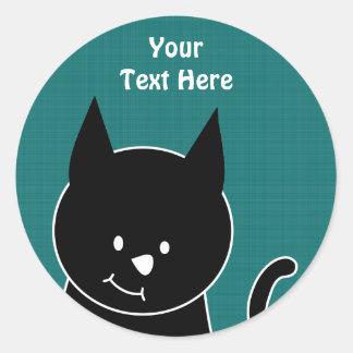 かわいい黒猫 ラウンドシール