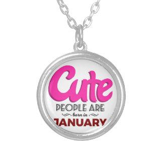 かわいい1月のベビーの誕生日で生まれて下さい シルバープレートネックレス