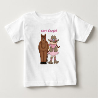 かわいい100%年の女性のカーボーイおよび馬のベビーのTシャツ ベビーTシャツ
