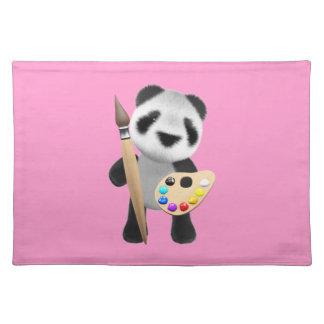 かわいい3dパンダの芸術家(編集可能) ランチョンマット
