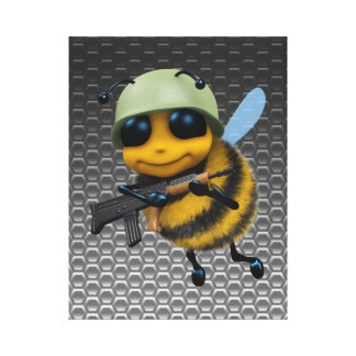 かわいい3d蜂の兵士の金属蜜蜂の巣 キャンバスプリント