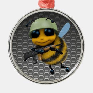 かわいい3d蜂の兵士 シルバーカラー丸型オーナメント